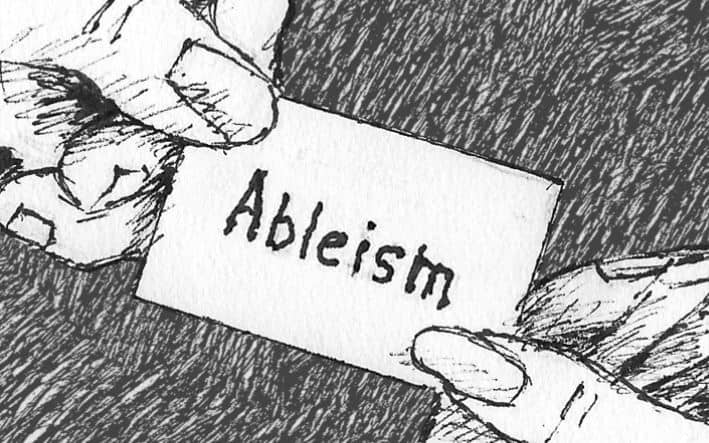 """black and white drawing of a card saying """"Ableism"""" being handed from one hand to another"""