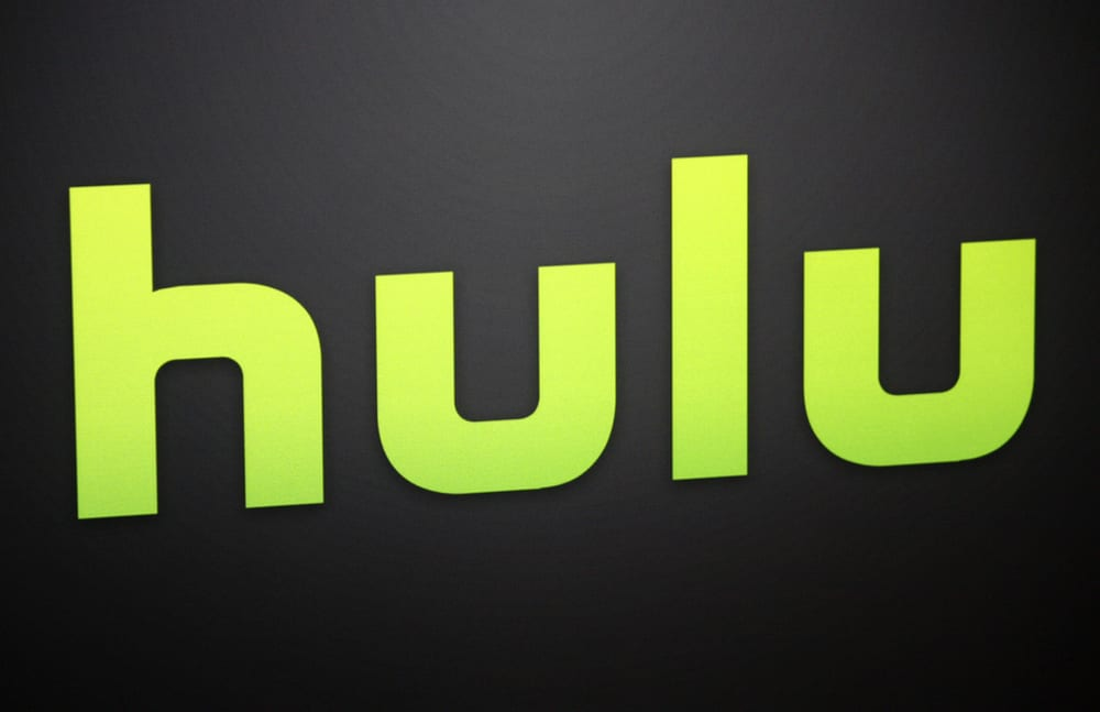 Hulu logo, green lettering on black background