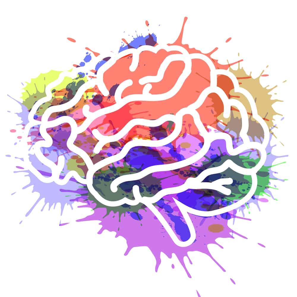 A white outline of a human brain set against a backdrop of splattered colors in purple, green, orange, yellow, and blue.