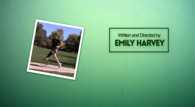 """A photo of Emily Harvey running with text that reads """"Written and Directed by Emily Harvey"""" on a green background."""