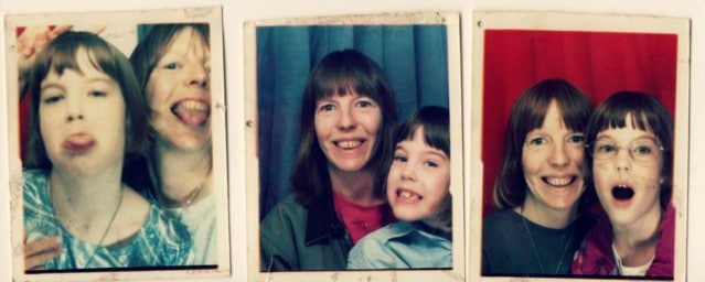 A series of three pictures, each with Alaina and her mother. In the first picture, they are playfully sticking their tongues out at the camera, and in the second two, they are smiling.