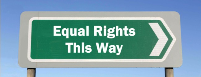 "Green Road Sign against a blue sky that says ""Equal Rights This Way"""
