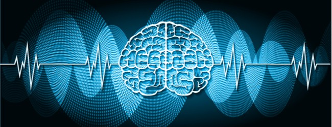 A graphic outline of a brain with blue waves coming out both sides.