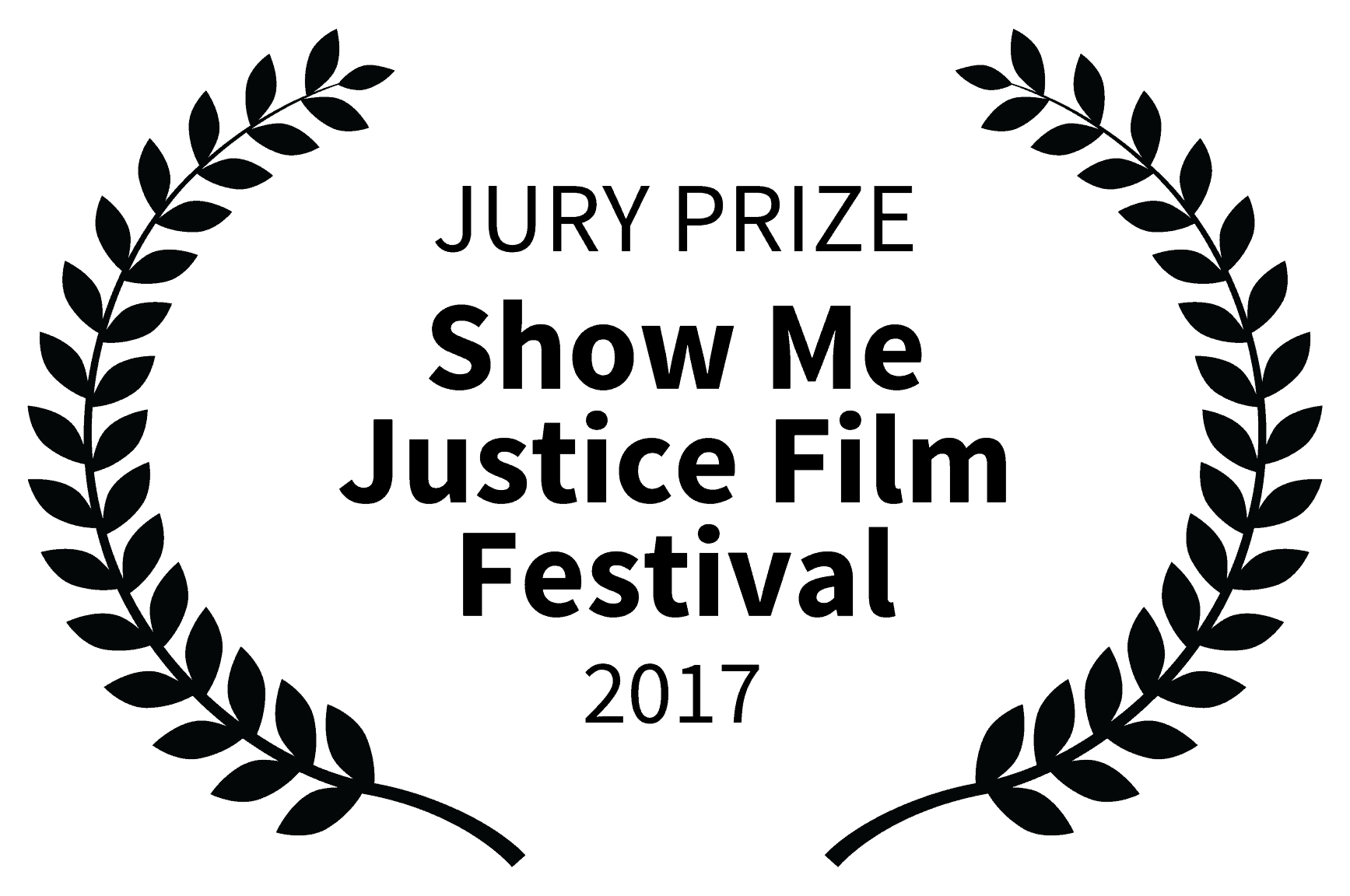 Film festival laurel - two olive branches surround text that reads Jury Prize Show Me Justice Film Festival 2017
